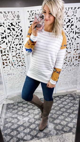 Getting Over Me - Striped Long-Sleeve Top