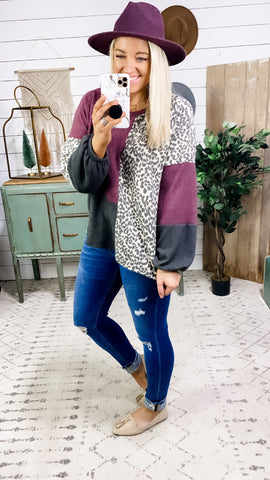 Let Me See- Leopard/Charcoal/Purple Soft Light Sweater
