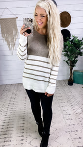 Just Like You- Ivory & Khaki Color Block Sweater