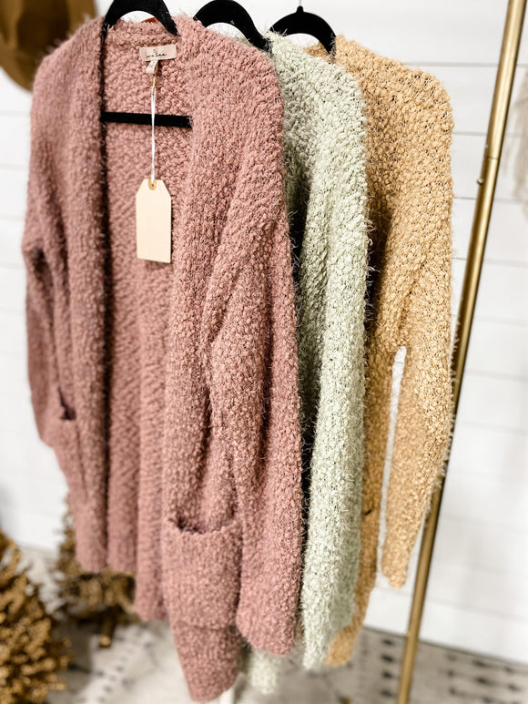 Best Thing Ever- {Camel, Mauve, Moss} Soft Popcorn Cardigan