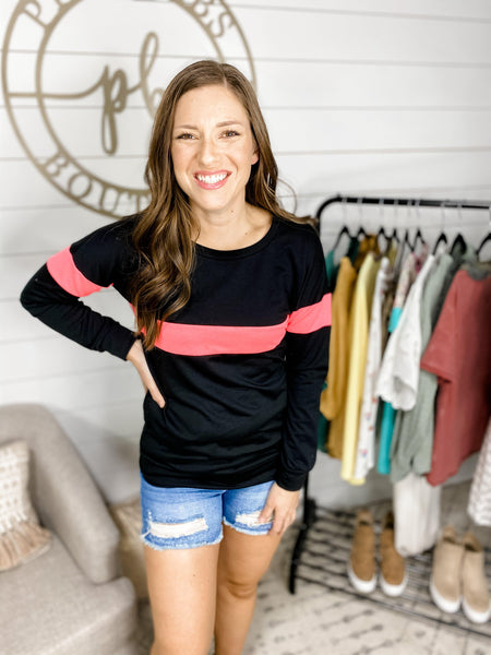 Stay Up- Black Sweater w/ Neon Pink Stripe