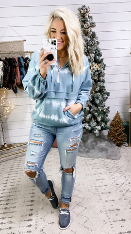 Wake Me Up- Silver Blue & White Tie Dye Pullover