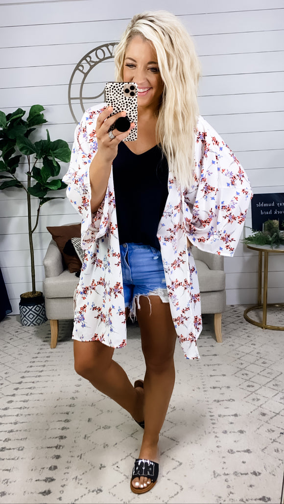 Same As Always- White Kimono w/ Floral Detail