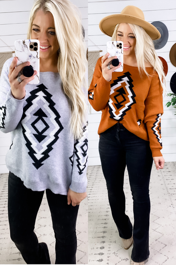 It's Not Fair- {Gray & Rust} Pattern Sweater
