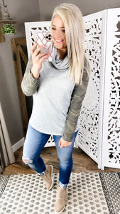 The One I Want-Distressed Camo Cowl Neck