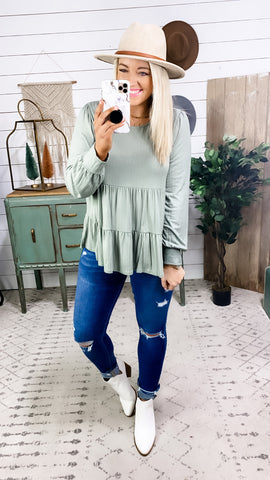 Just Say It- Sage Ruffle Layered Textured Top