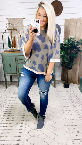 I'm Going- Mocha & Navy Print Top w/ Reversed Neon Stitching