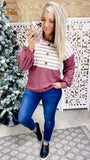 Making Changes- Dusty Burgundy w/ Oatmeal & Colorful Stripes