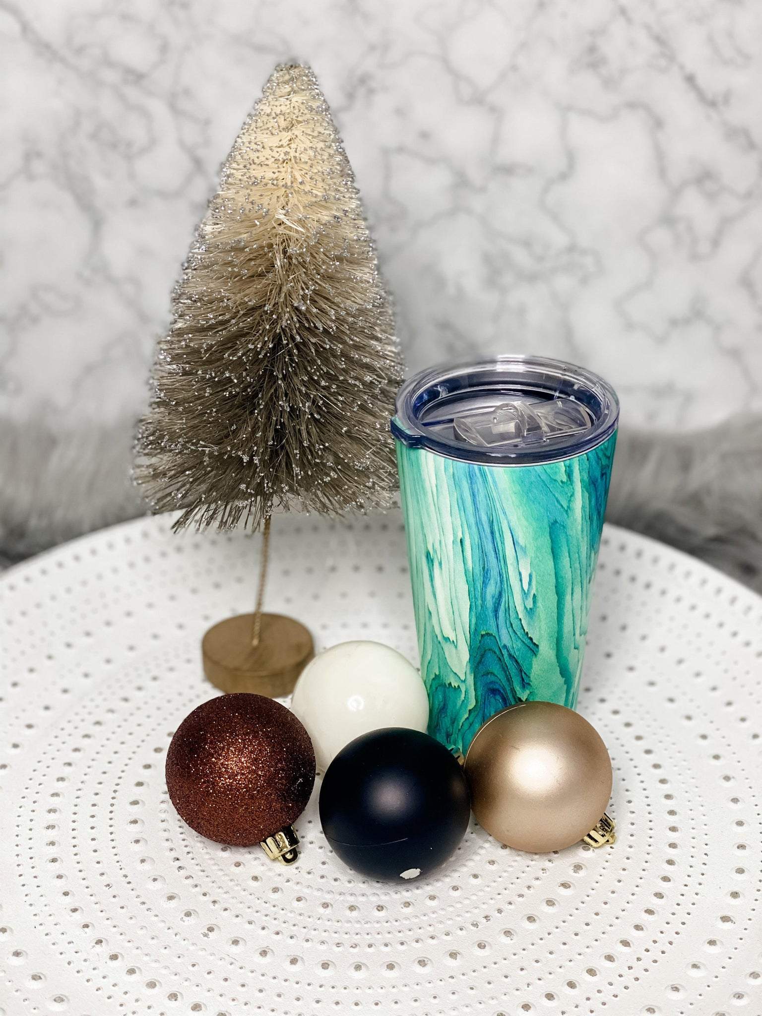 Marble Wave Tumbler- {Gold Or Rain Forest}