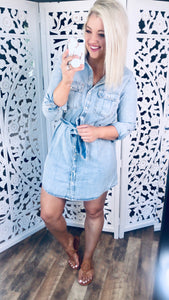 Better Days Ahead- Denim Dress w/ Pockets & Belt
