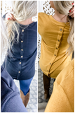 A Heart Don't Forget- {Mustard} & {Black} Top w/ Back Button Detail