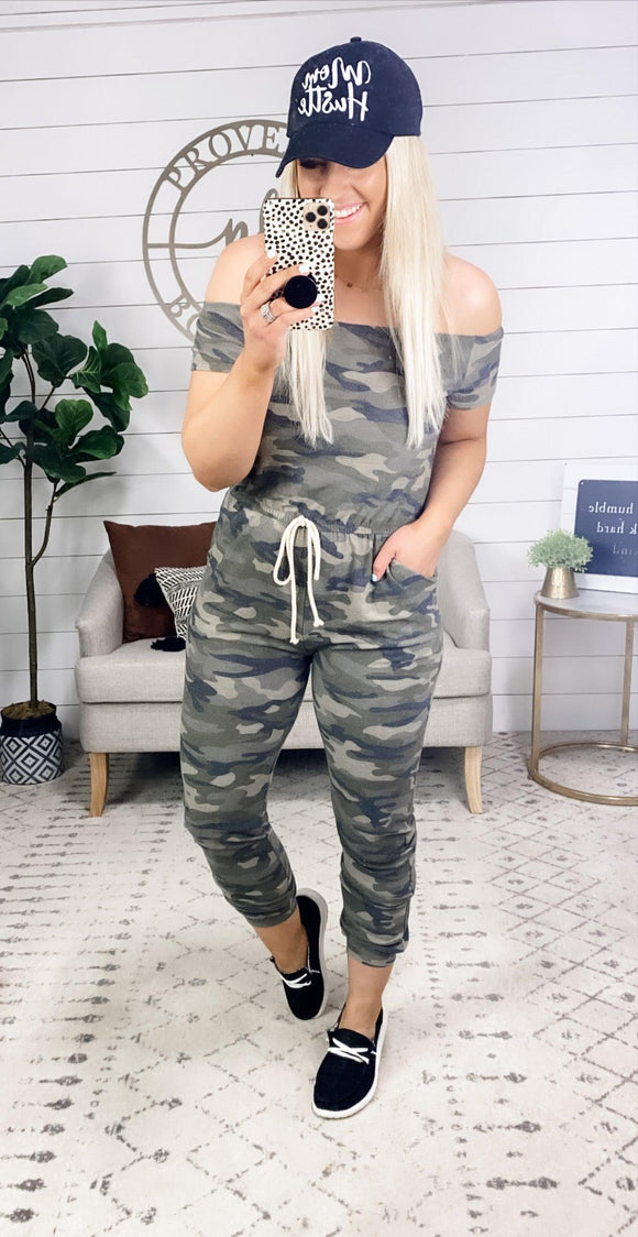It's Always Been You- Camo Off Shoulder Jumpsuit