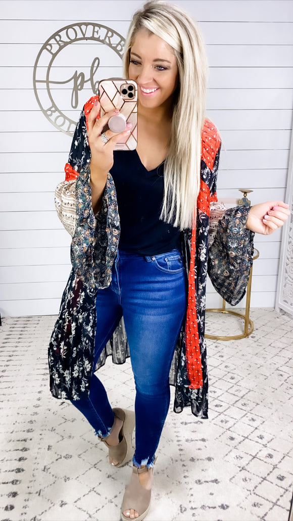 Look Inside- Multi Pattern Layers Bell Sleeve Kimono