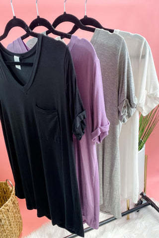 A New Chapter- {Black, Gray, Ivory, & Lavender} Basic Top w/ Pocket