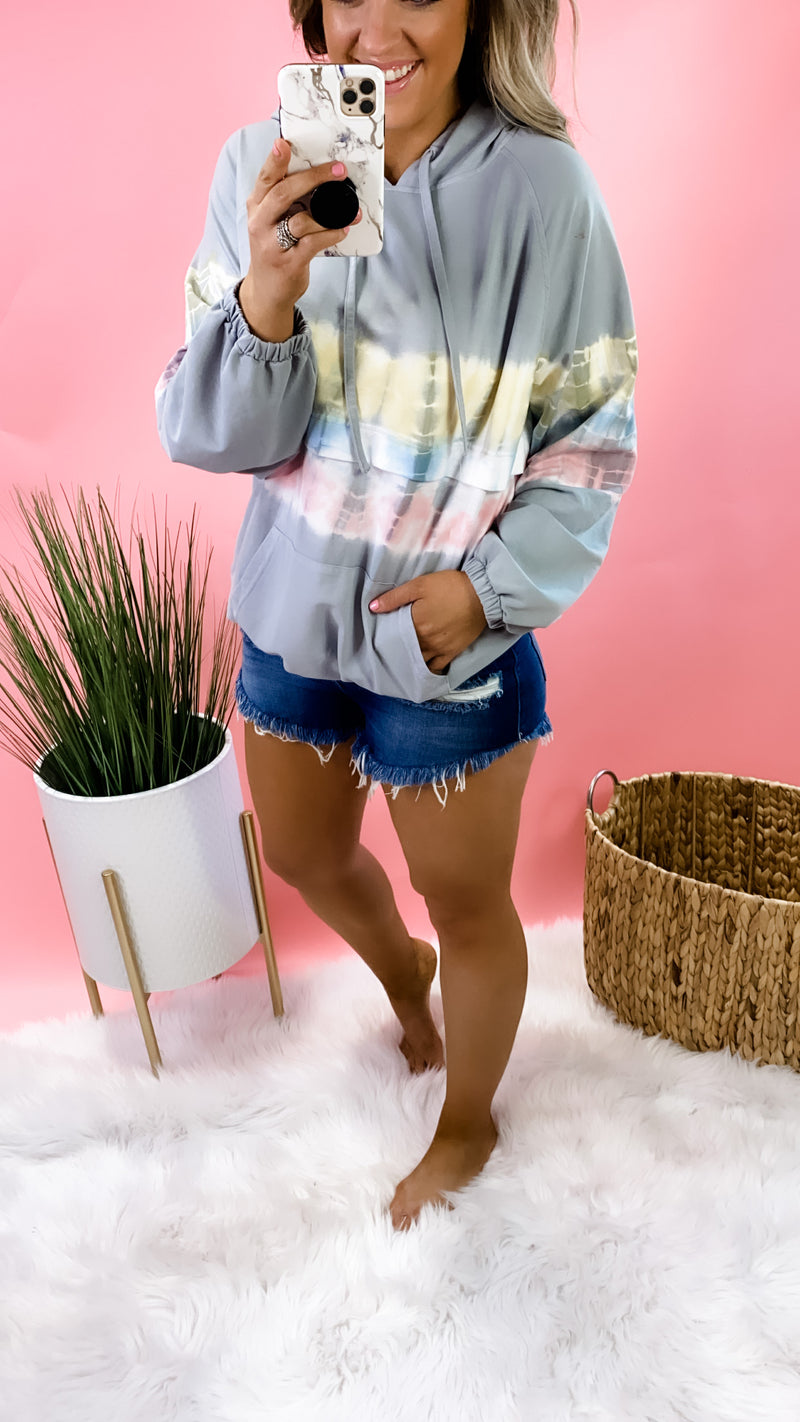 Prime Time- Gray w/ Yellow, Blue, & Pink Tie Dye Stripe Pullover