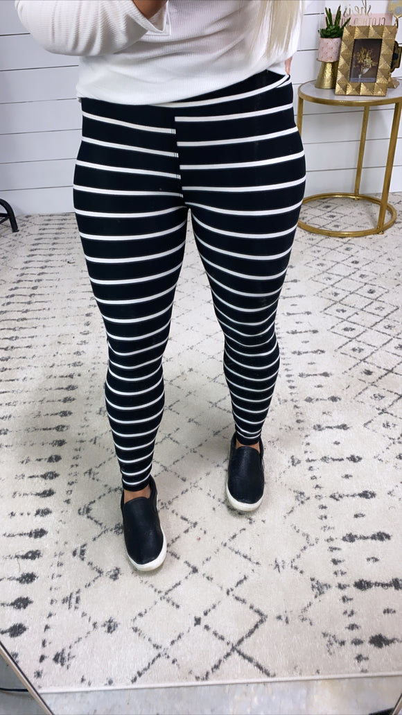 Move Along- Black & White Stripes Leggings