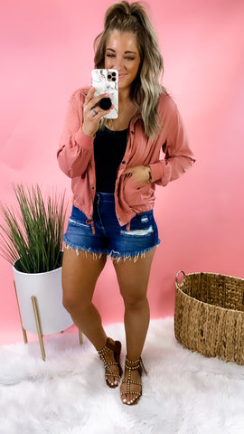 Spreading Rumors- RESTOCKED Dusty Rose Cropped Lightweight Jacket w/ Snap Buttons