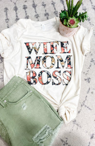 Wife Mom Boss Cream/Floral Tee