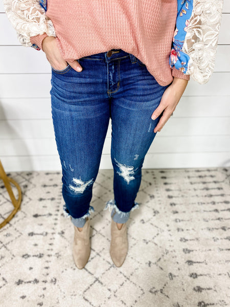 The Jessica's- Destroyed Cuffed Hem Skinny Jeans