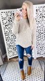 Can't Hide- Oatmeal Chenille Sweater w/ Scalloped Hemline