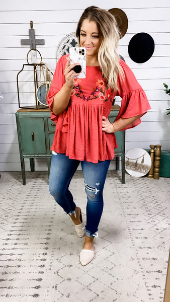 Back To This- Embroidered Flowy Bell Sleeve Top
