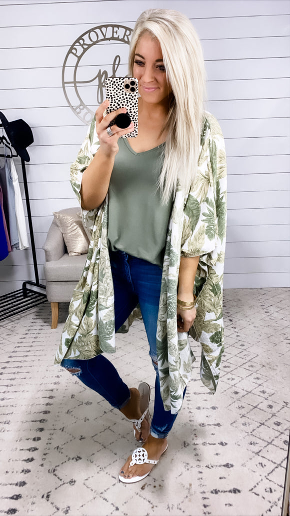 Beach Breeze- Tropical Leaves Kimono