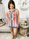 Say It Now- Multi Stripe/ Floral Embroidered Tank