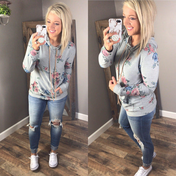 All I Want- Heather Gray & Floral Hoodie