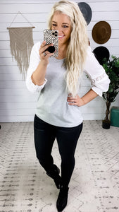 Need To Know- Gray Top w/ White Puff Lace Detail Sleeves