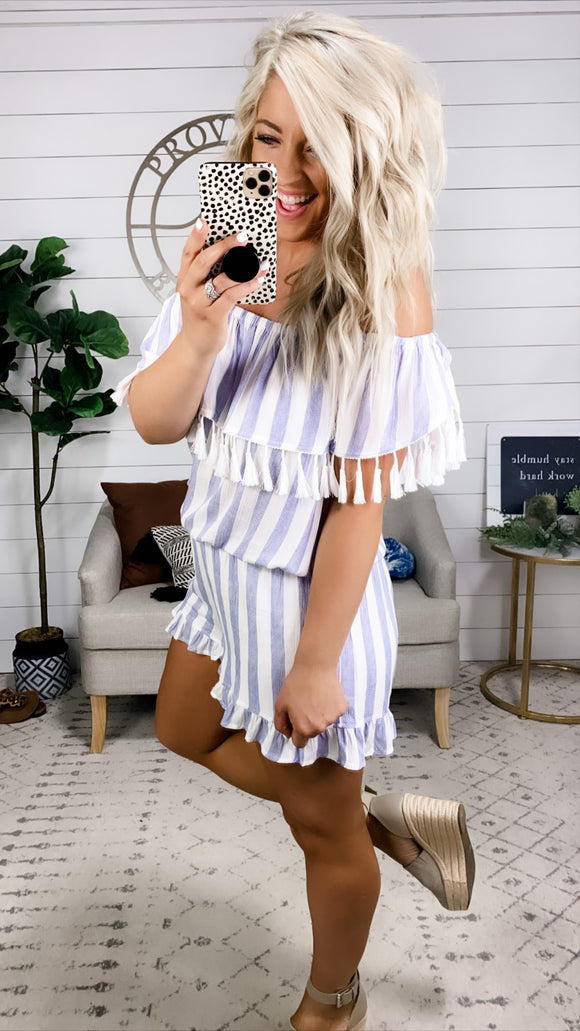 Dance With Me- White & Blue Stripes Romper