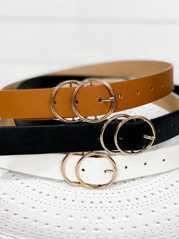 Double O Belt- {Black, Camel, White} Gold Buckle