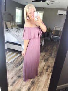 Love Is In The Air- Mauve Long Off Shoulder Dress - FINAL SALE