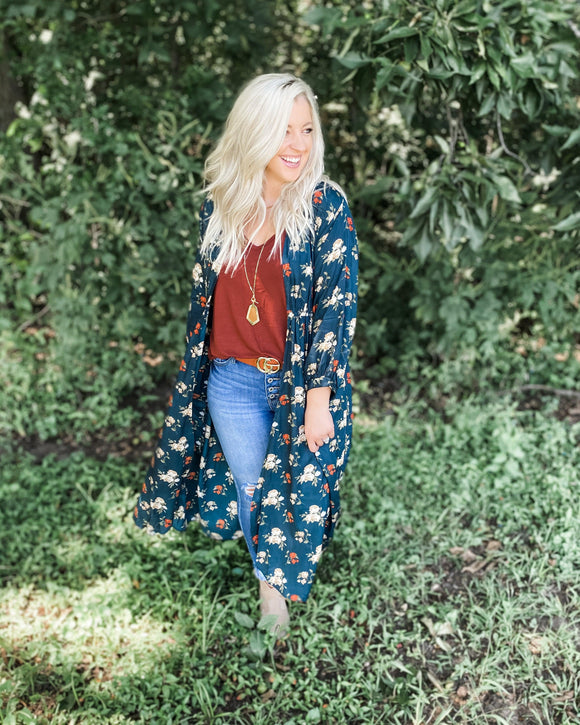 Lookin' At You- Teal Floral Kimono/Duster Dress