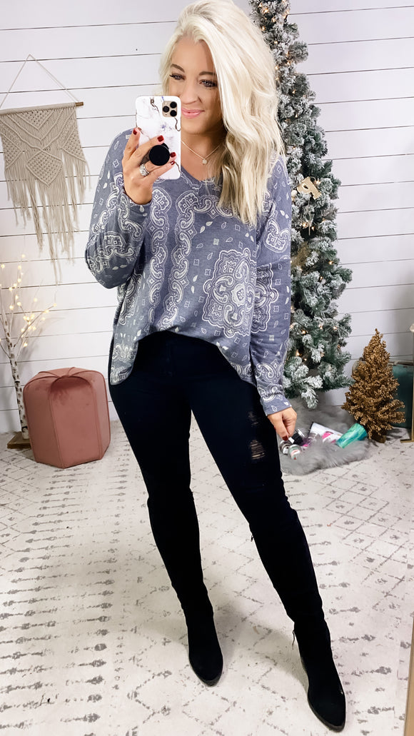 Sounds Like It- Navy Paisley V-Neck Top