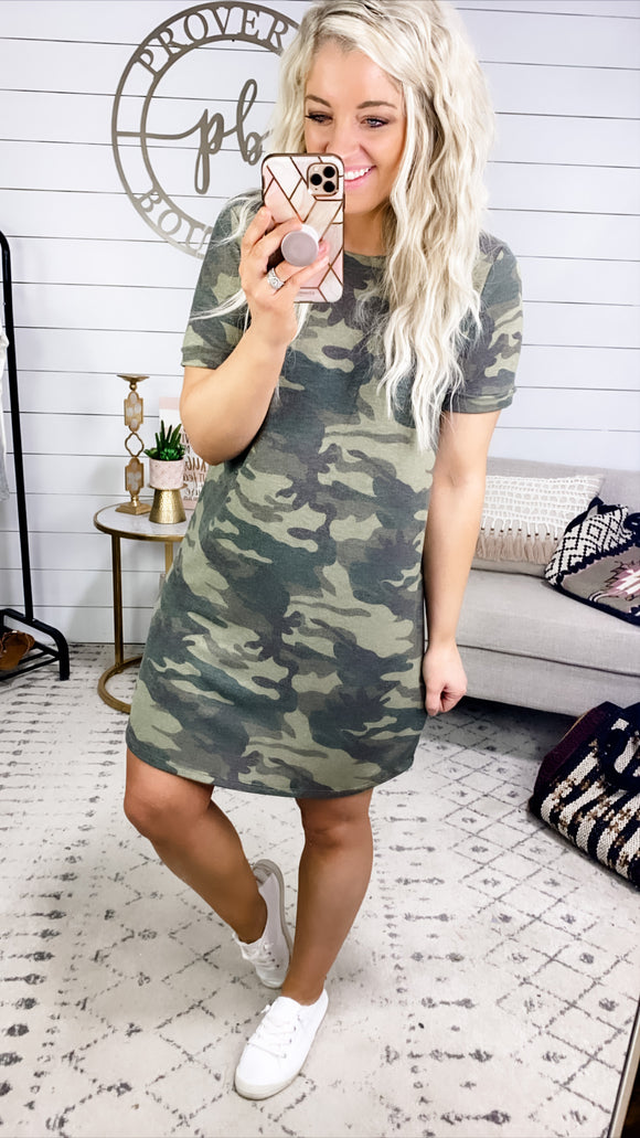 Good Girl- Camo Shirt Dress