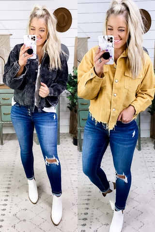 What I've Done- {Black & Mustard} Raw Edge Ribbed Jacket