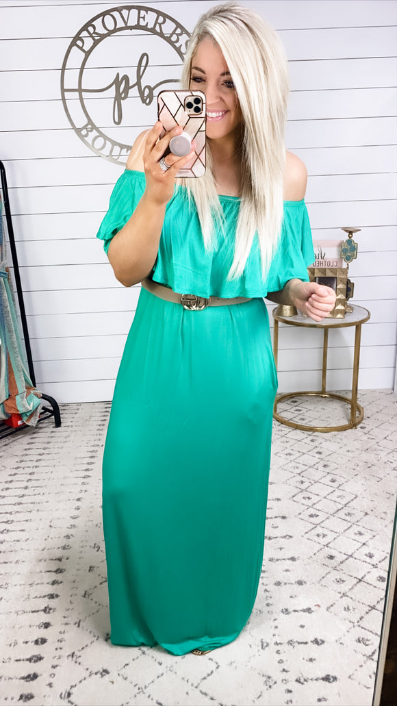 Alone Time- Green Maxi Dress