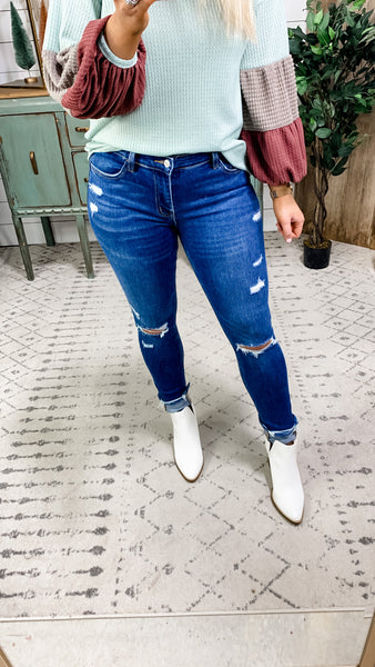 The Charlotte's- RESTOCKED! Medium Wash Distressed Skinny Jeans