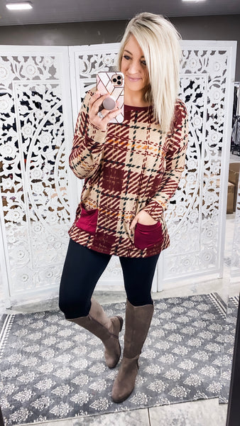Picture Perfect - Knit Checker Top with pockets
