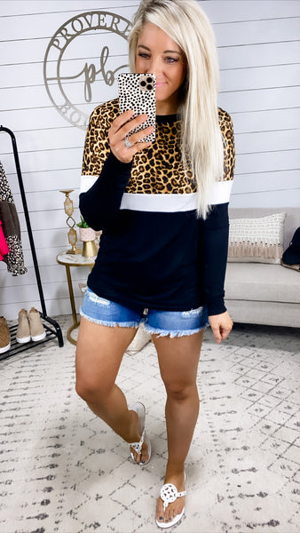Closing Time- Leopard/White/Black Long Sleeve Top