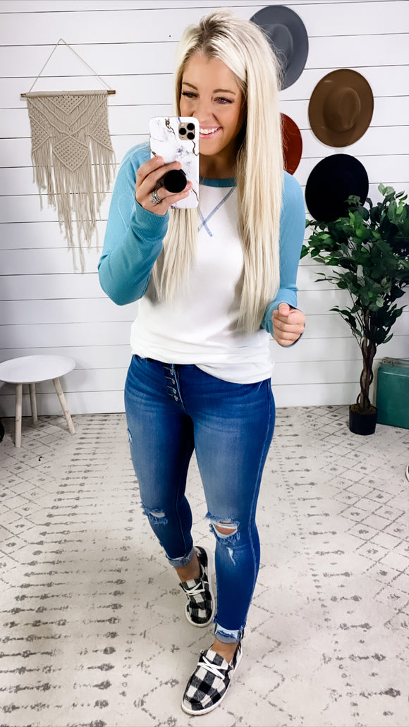 What I'd Do- White & Teal Long Sleeve Top