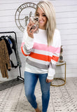 Just Keep Breathing- White Sweater w/ Wide Color Stripes