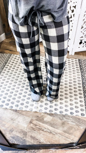 Running Late PANTS- Plaid w/ Gray Waist Band