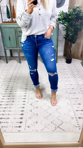 The Charlotte's- Medium Wash Distressed Skinny Jeans