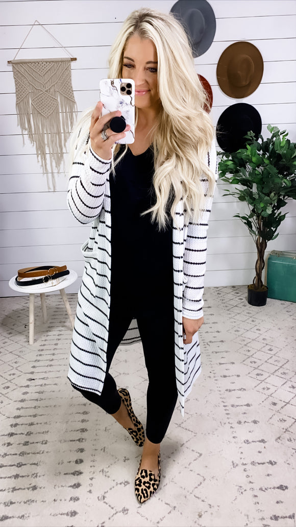 Just Disappear- BLACK & White Stripes Waffle Knit Cardigan