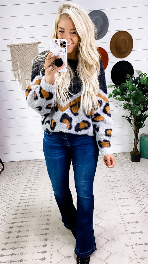 Doing Great- Charcoal/Gray/Camel Leopard Fuzzy Sweater