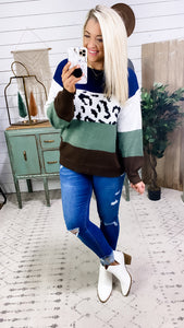 No Better View- Navy/Leopard/Green/Brown Color Block Sweater