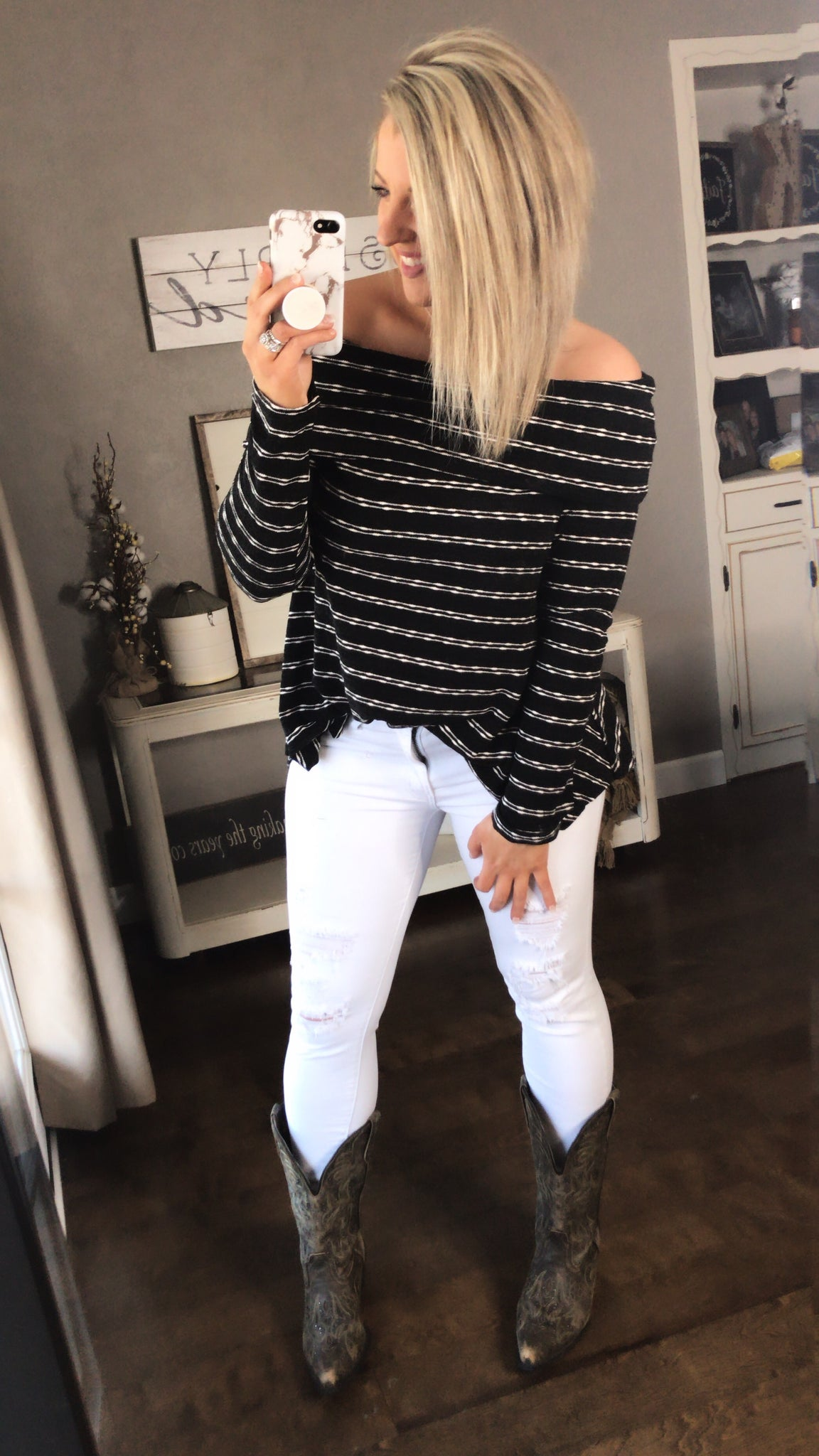Fold Over Off Shoulder Neckline {Black & White Stripes}