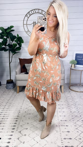 This Is Fun- Apricot & Floral Dress