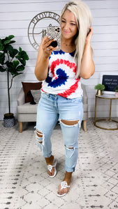 Red, White & Blue Tie Dye Tank Top